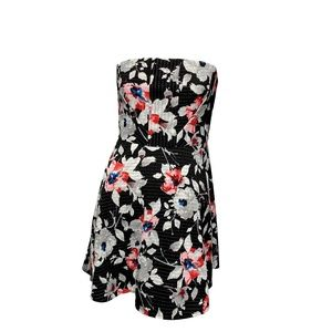 Express Black Gray Floral Strapless A-line Dress